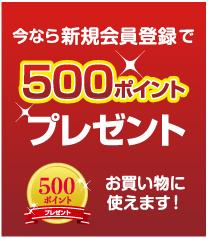 新規会員登録で500ポイントプレゼント お買い物に使えます